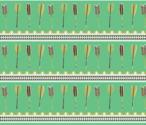 aztec arrows - green, olive & bordeaux fabric by ravynka on Spoonflower - custom fabric