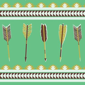 aztec arrows - green, olive & bordeaux