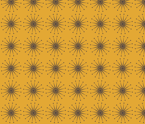 Starspangle (Brown on Mustard) fabric by bippidiiboppidii on Spoonflower - custom fabric