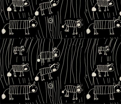 Zebras by Aurora on black mirror image fabric by aurora_annabella on Spoonflower - custom fabric