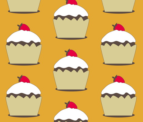 Chocolate Cupcakes with Frosting and a Strawberry fabric by rengal on Spoonflower - custom fabric