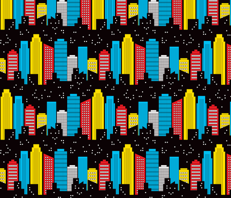 Comic Adventures: Skyline fabric by jazzypatterns on Spoonflower - custom fabric