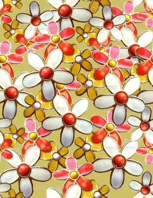60's Retro Daisy Fabric
