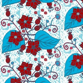 Flower Drawing Turquoise Red