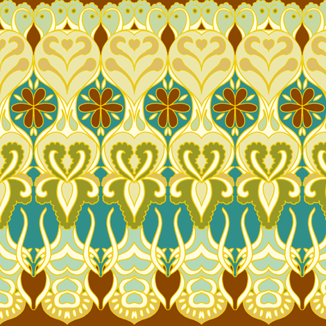 flower_wave_gold_and_chocolate fabric by holli_zollinger on Spoonflower - custom fabric