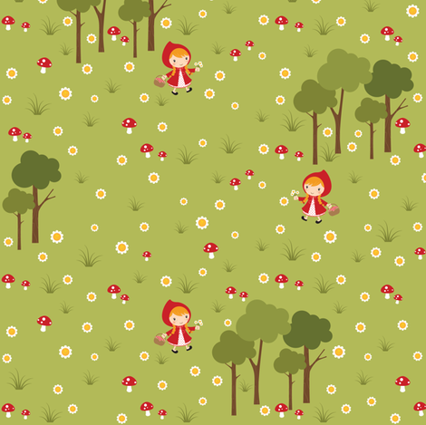 Red Riding Hood fabric by jazzypatterns on Spoonflower - custom fabric