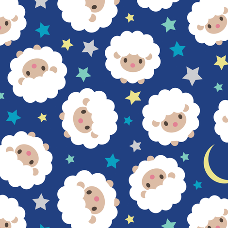 2015 Year Of The Sheep Counting Ditsy Pattern Fabric By Jackie H On Spoonflower