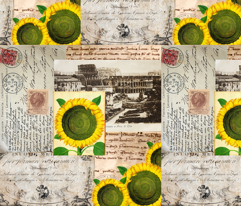 Italian Sunflower Rome Postcard fabric by 13moons_design on Spoonflower - custom fabric