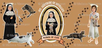 Patron Saint of Cats Catholic icon fabric