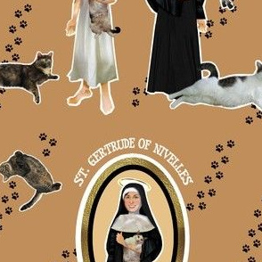 Patron Saint of Cats Catholic icon fabric