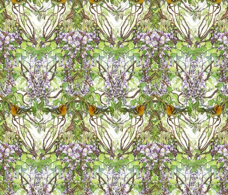 Warbler in Wisteria, narrow version fabric by wren_leyland on Spoonflower - custom fabric