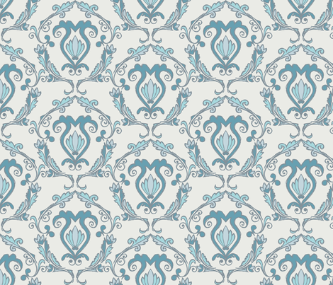 Doodled Damask - Scheme 4 fabric by rgushi on Spoonflower - custom fabric