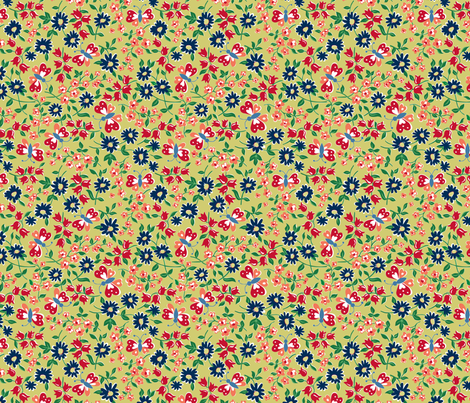 KC butterfly navy fabric by minimiel on Spoonflower - custom fabric