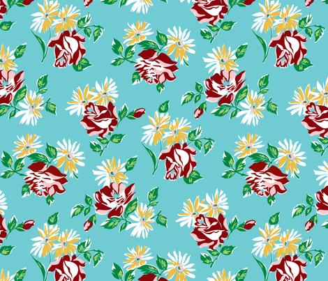 KC floral aqua colorway fabric by minimiel on Spoonflower - custom fabric