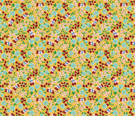 KC butterfly aqua fabric by minimiel on Spoonflower - custom fabric