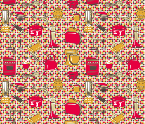 Retro Kitchen Appliances - Tomatoe fabric by bonnie_phantasm on Spoonflower - custom fabric