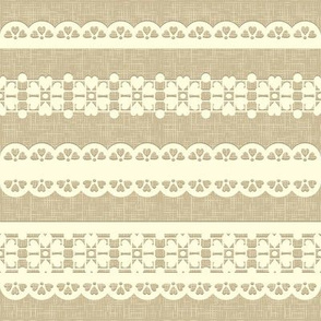 Vintage straight lace on linen background.