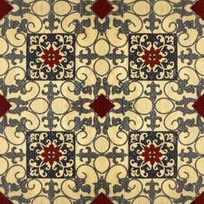 French hen house tile / burlap