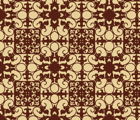 French hen house tile red fabric by paragonstudios on Spoonflower - custom fabric