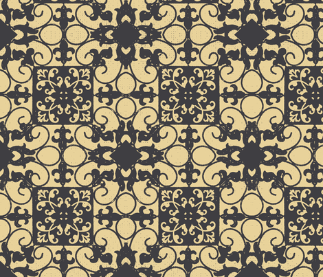 French hen house tile charcoal fabric by paragonstudios on Spoonflower - custom fabric
