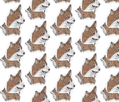 Pembroke Welsh Corgi hand drawn sketch fabric by rusticcorgi on Spoonflower - custom fabric