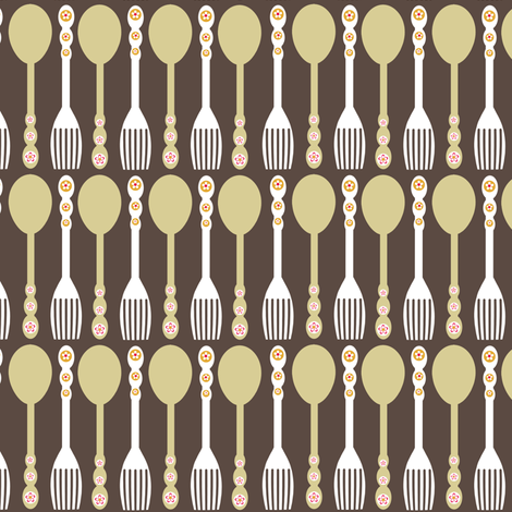 Spoons and Forks fabric by natitys on Spoonflower - custom fabric