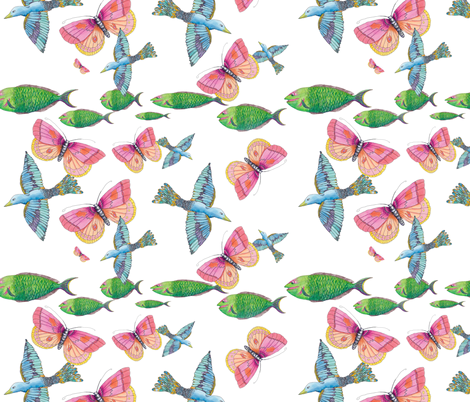 All creatures fabric by aftermyart on Spoonflower - custom fabric