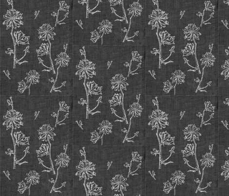 Chicory on Dark Charcoal fabric by retrofiedshop on Spoonflower - custom fabric