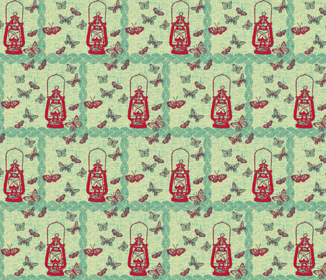 red_lantern_line-ch fabric by retrofiedshop on Spoonflower - custom fabric