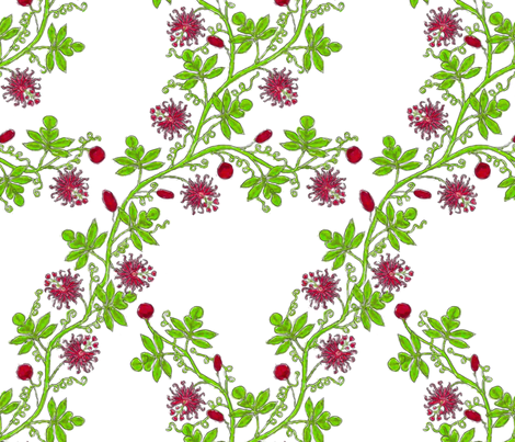 Rococo passiflora trellis, c. 1726 fabric by bonnie_phantasm on Spoonflower - custom fabric