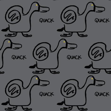 Quack Attack (dark grey) fabric by christine_wichert_arts on Spoonflower - custom fabric