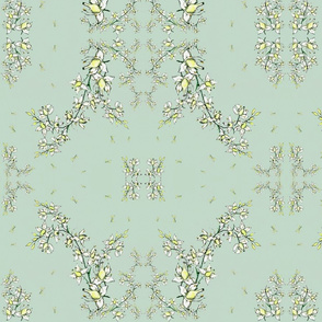 Lily of the valley on Seafoam Green
