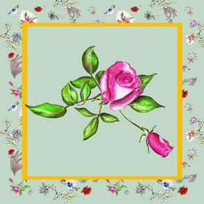 Dainty Delights Hand-Drawn Pink Rose on Seafoam Green