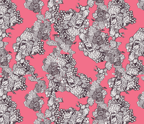 lace in coral fabric by katarina on Spoonflower - custom fabric