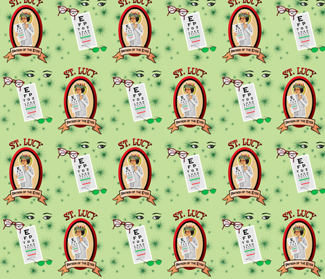St. Lucy's Glasses  fabric by magneticcatholic on Spoonflower - custom fabric