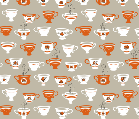 Tea Cups fabric by happygoluckycreations on Spoonflower - custom fabric