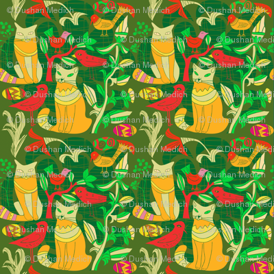 Yellow And Green Birds Cats And Flowers