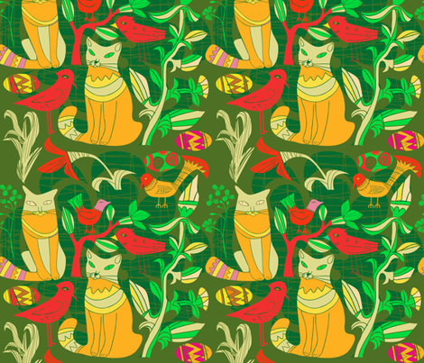 Yellow And Green Birds Cats And Flowers fabric by dushanmedich on Spoonflower - custom fabric
