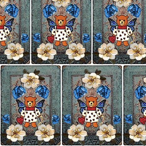 vintage_teddybear_with_butterfly_wings_and_roses fabric by vinkeli on Spoonflower - custom fabric