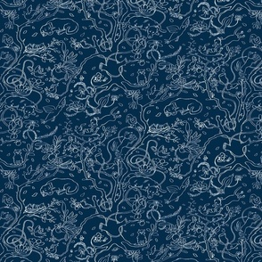 dogs n cats - Navy Blue