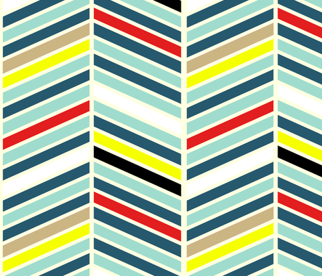 Teal Multi Chevron fabric by mgterry on Spoonflower - custom fabric