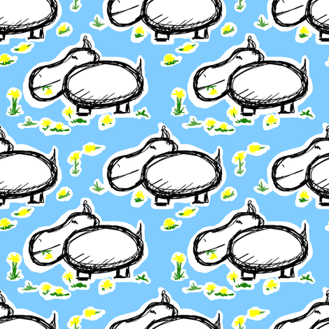 Small Lunching Hippos fabric by fig+fence on Spoonflower - custom fabric