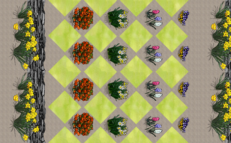 border_long_ground_wall_diamond_flowers_shadow_A fabric by khowardquilts on Spoonflower - custom fabric