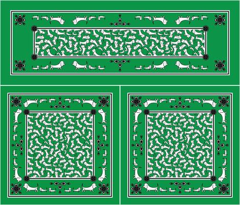 Doodle Basset Bandanas (Green) fabric by robyriker on Spoonflower - custom fabric
