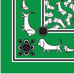 Doodle Basset Bandanas (Green)
