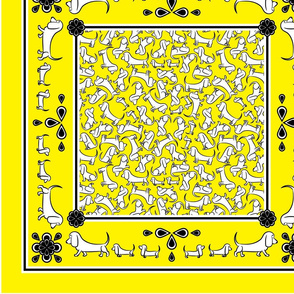 Doodle Basset Bandanas (Yellow)