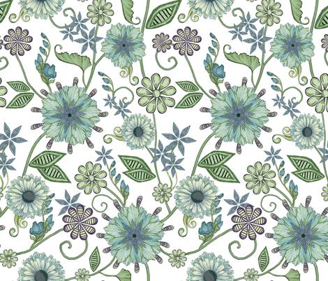 Antique Nouveau Floral fabric by nicoletamarin on Spoonflower - custom fabric