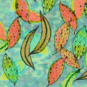 Love leaves, blue-green background by Su_G