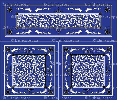 Doodle Basset Bandanas (Blue)