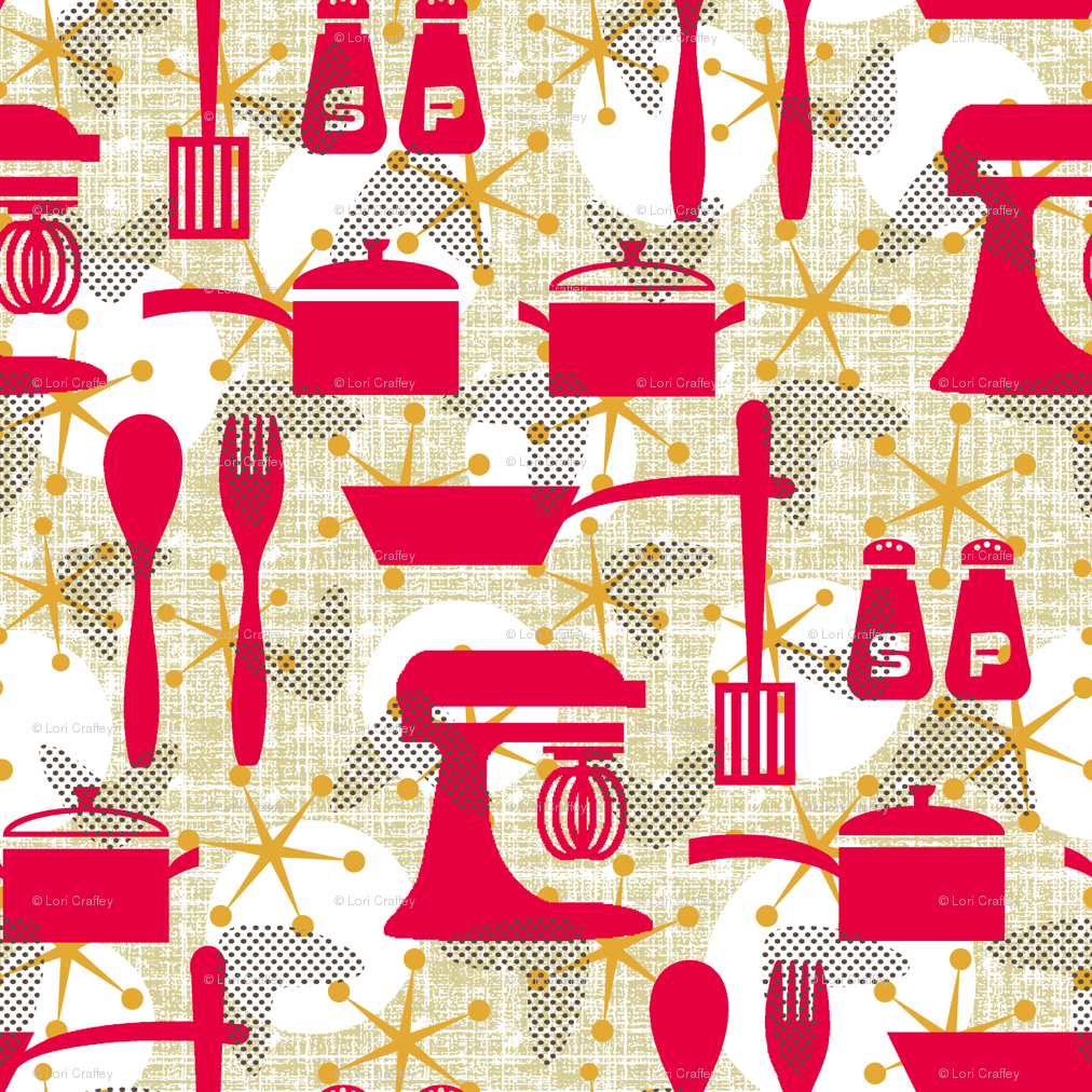 Wallpaper Kitchen Really Retro Kitchen Wallpaper Littlerhodydesign Spoonflower